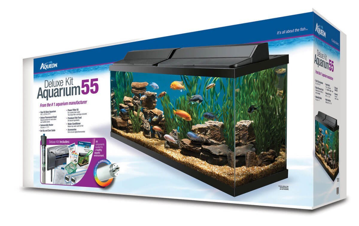 Aqueon 55 gallon deluxe glass aquarium kit review 17770 for 50 gallon fish tank dimensions